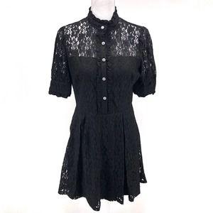 AQUA Rhinestone Button Lace Black Mini Dress Sz M